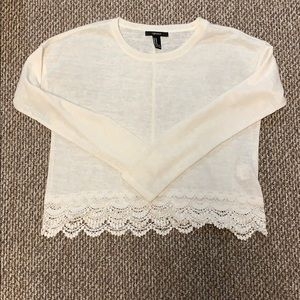 Forever 21 Off White Lace Crop Top